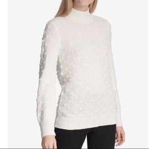 NWT Calvin Klein White Turtleneck Popcorn Sweater